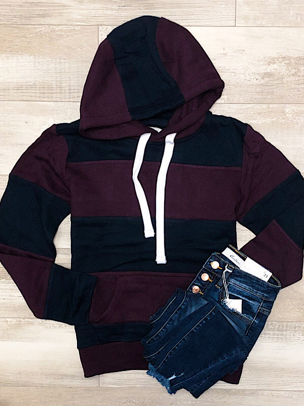 *New* Maroon and Navy stripe hoodie