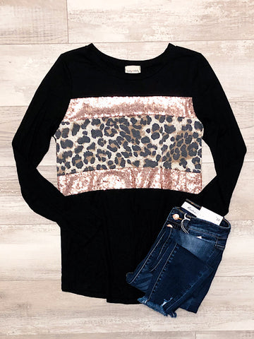 *New* Black Leopard top