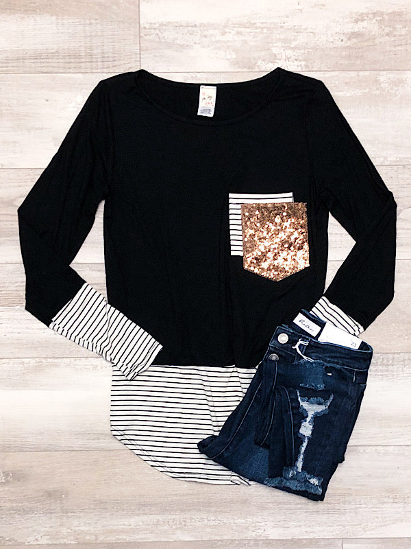 *Restocked* Black Stripe top