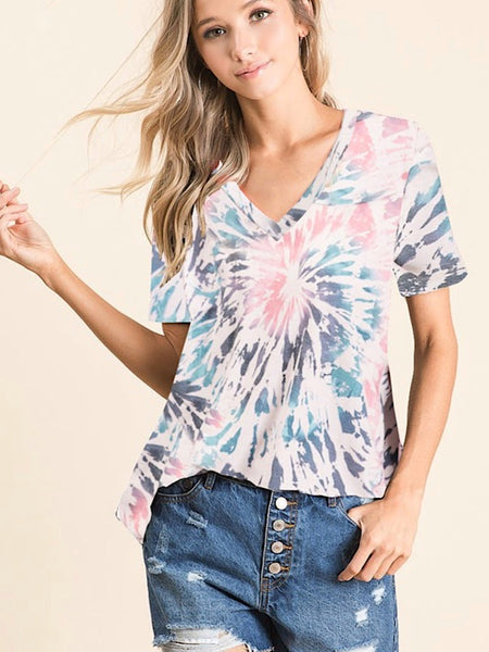 *New* Tie dye V neck top