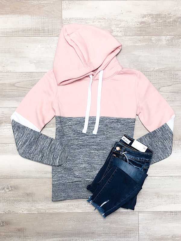 *New* Blush Pink and Marled Charcoal Hoodie