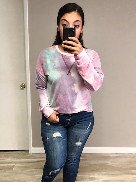 *New* Purple and Mint tie dye top