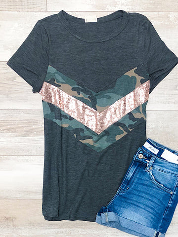 *New* Charcoal Camo Chevron top