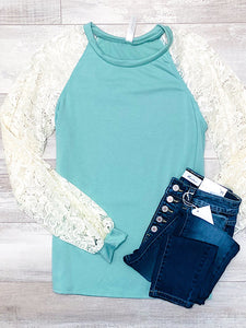*New* Sage Lace Sleeves top