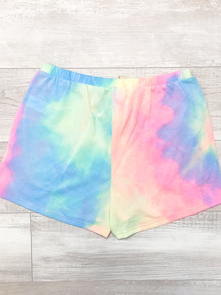 *New* Neon pink tie dye shorts