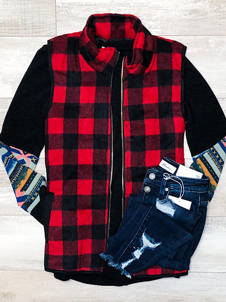*New* Red buffalo plaid vest