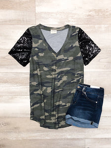 Camo Sequin Sleeve