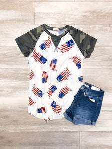 *New* Camo 4th of July top