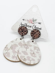 *Preorder* Rose Gold & Nude Leopard Earrings