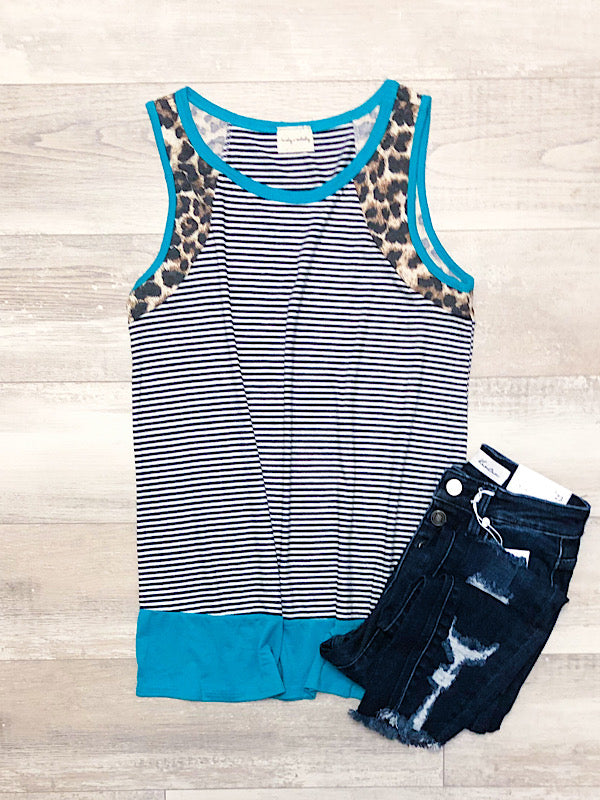 *New* Blue and Leopard Stripe Tank