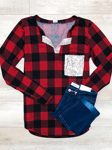 *New* Red Plaid Silver Sequin