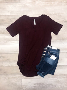 *New* Burgundy Short Sleeve Top - Araly's Boutique