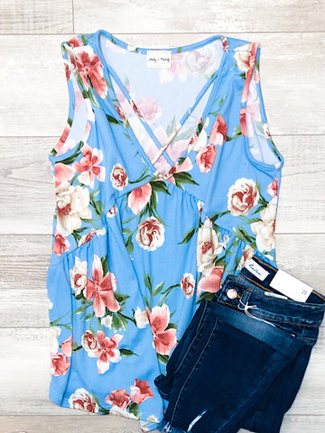 *New* Floral Criss Cross tank