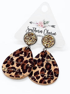 *Preorder* Gold Metallic Gold Leopard Dangle