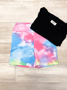*New* Pink Blue Yellow tie dye shorts