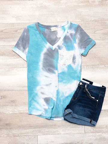 Jade and Gray tie dye top