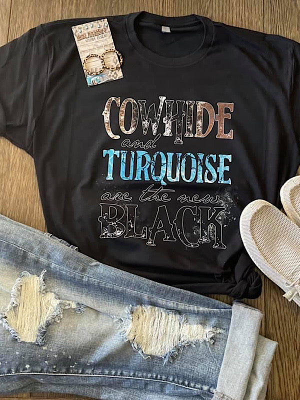 *Preorder* Cowhide & Turquoise (S-3xl)