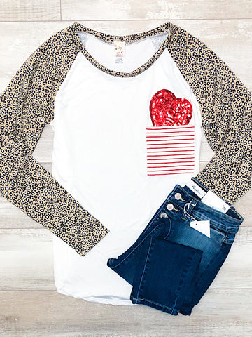 *New* Leopard heart top