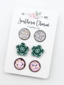 *New* Sage Flowers Earring trio