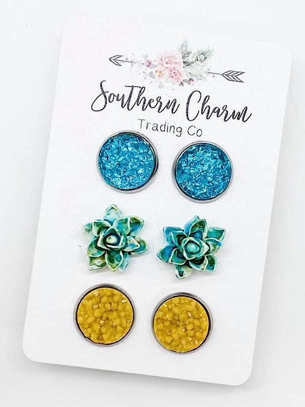 *New* Teal Trio Earrings