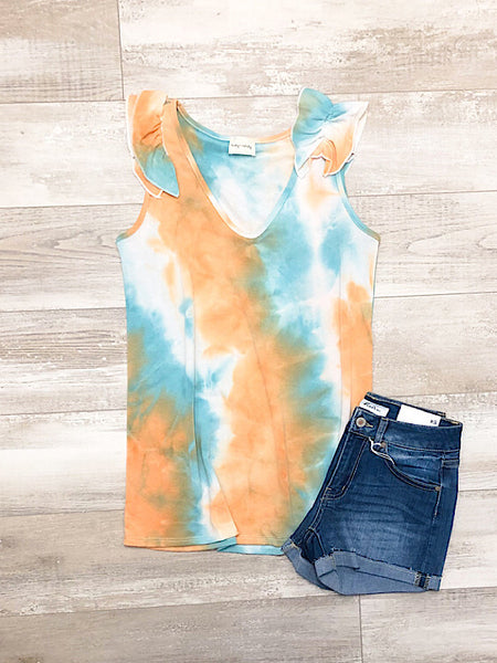 *New* Orange and Jade tie dye tank