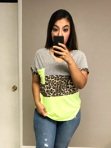 *New* Neon Lime Leopard Short Sleeve top