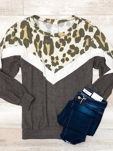 *New* Mocha Cream Leopard Sweater