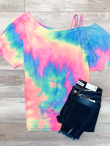 *New* Rainbow off the shoulder top