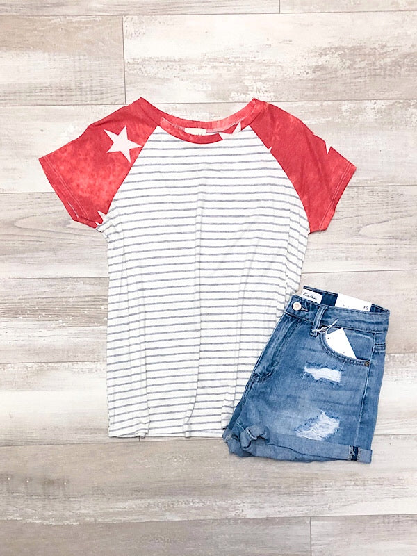 *New* Red Star Stripe Top