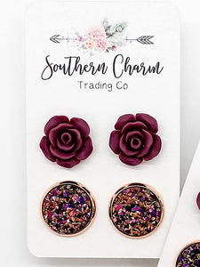 *Restocked* Burgundy Rose duo Earrings