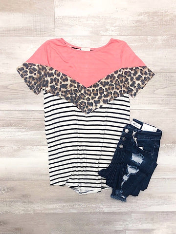 *New* Leopard Chevron Top