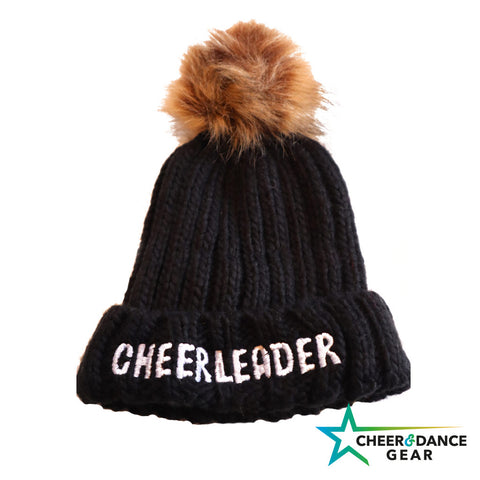 Kids Cheerleader Embroidered Chunky Fur Pom Pom Beanie