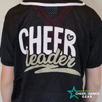 Black Cheerleader Glitter Baseball Jersey