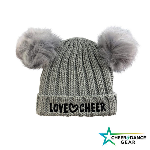 Kids Love Cheer Faux Fur Double Pom Pom Beanie