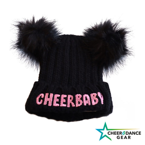 Cheer Baby Embroidered double Chunky Fur Pom Pom Beanie - Black & Pink