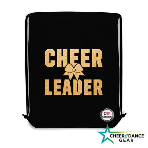 Black Cheerleader Gold Glitter Gym / Swimming Bag