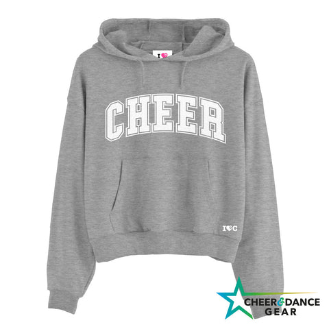 Heather Grey Varsity Cheer Cropped Hooded Sweatshirt