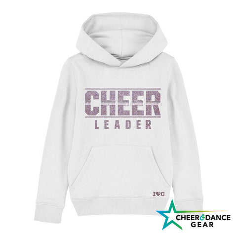 White Cheer Leader Lines Hooded Sweatshirt - Adults