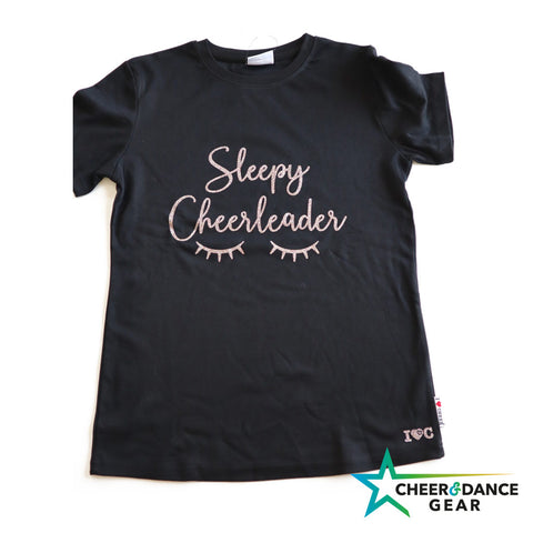 Black Sleepy Eyelashes Over sized Glitter Night T-Shirt