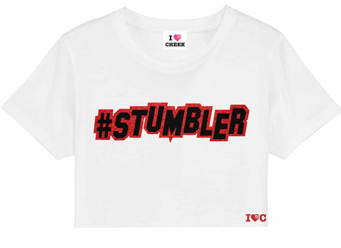 White #Stumbler Cropped T-Shirt
