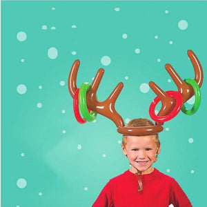 Christmas Party Game Inflatable Reindeer Antler Hat with Rings