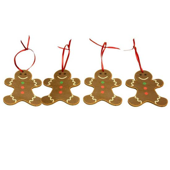 Holiday Gingerbread Man Ornament - Set of 4 - Clearance