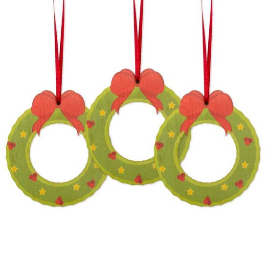 Holiday Wreath Ornament - Set of 3 - Clearance