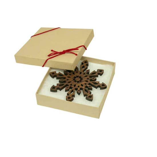 Walnut Snowflake Ornament - Set of 4 - Clearance