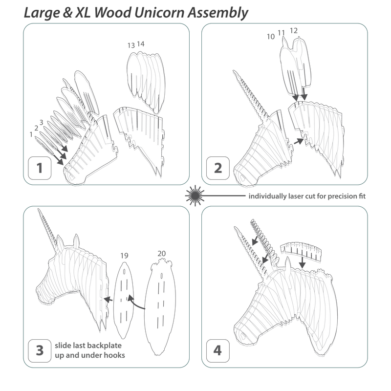 Merlin the Bamboo Unicorn Head instructions