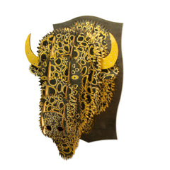 Leah Yellowbird Birch Printed Animal Heads- Bison