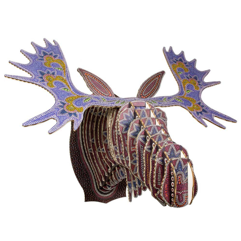 Leah Yellowbird Cardboard Printed Animal Heads- Moose