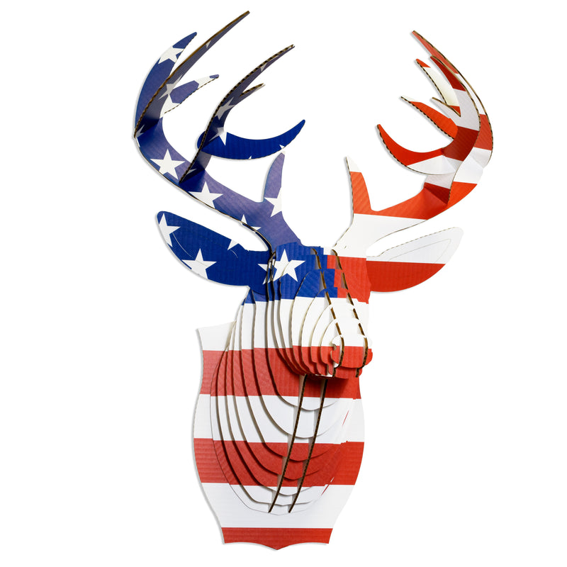 Bucky Cardboard U.S. Flag Deer Head