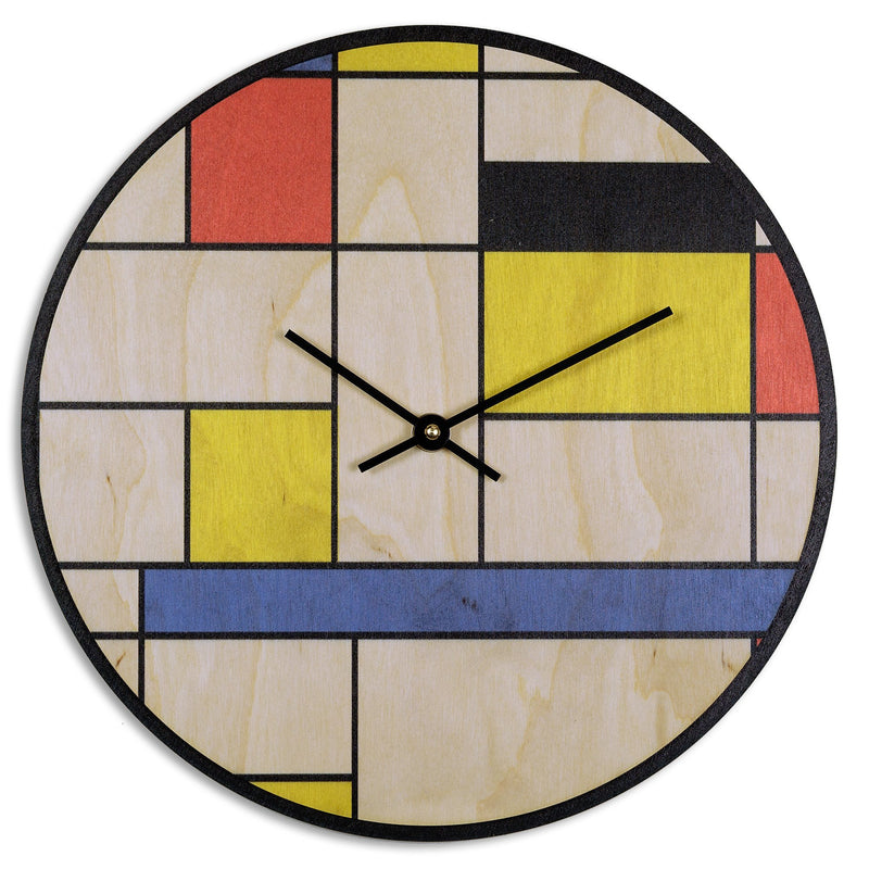 Grid Art Print Wood Wall Clock - SECOND