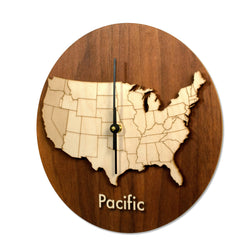 Wood Time Zone Clock-Pacific-Clearence